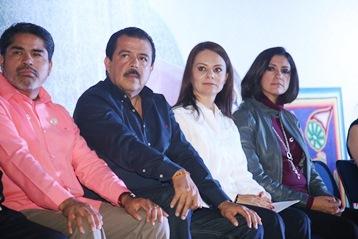 La titular de la CDI, Nuvia Mayorga, durante la  presentación del evento