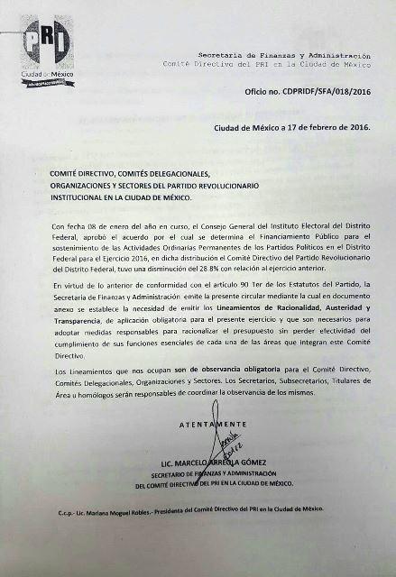 La carta fatal...a los empleados del PRI capitalino