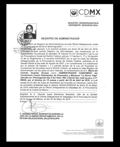 El reconocimiento de las autoridades a la nueva administradora