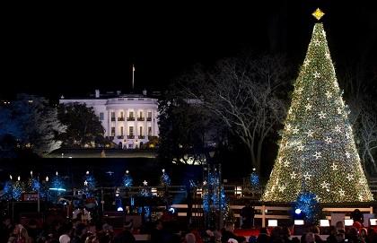 CASA BLANCA: El máximo poder del cielo expresado a la fiesta mas universal envuelve a la Casa Blanca de Barack Obama. El Presidente y su familia  encendieron las luces del árbol que corona la Casa Blanca.